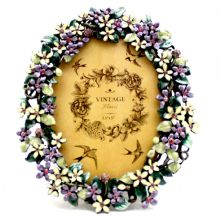 Oval Purple Flowers Frame